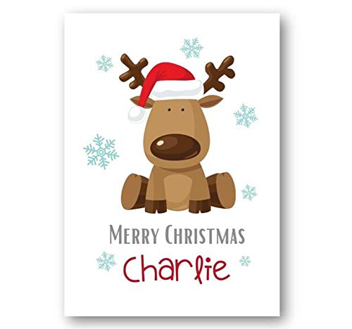 Second Ave Personalised Kids Children's Reindeer Christmas Xmas Holiday Festive Greetings Card