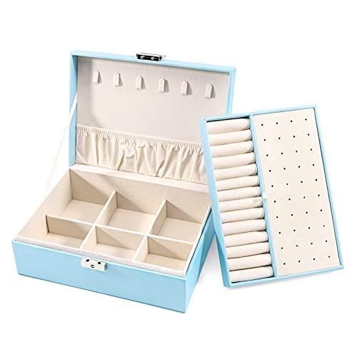 Allinside Exquisite Damen Schmuckschatulle Aufbewahrungsbox, 2-lagige PU-Leder Schmuck Vitrine Aufbewahrungsbox, mit Schloss, Samtfutter Perl Blau
