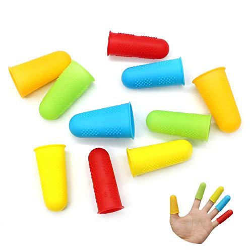 10PCS Protectores de Dedos de Silicona Protectores de Dedos de Pistola de Pegamento Caliente para Coser, Cera, Jardinería, Adhesivos, álbumes de Recortes, Costura, 5 Colores, 3 Tamaños