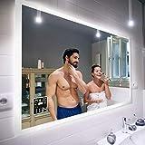 FORAM Personalizar Espejo de Baño con Iluminación Moderno - Fabricado a Medida con Interruptor y Accesorios - Blanco Frío Cálido L01
