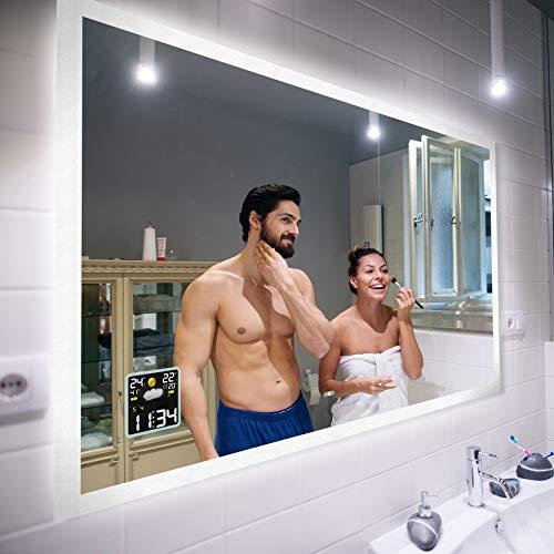 Badspiegel 100x70cm mit LED Beleuchtung - Wählen Sie Zubehör - Individuell Nach Maß - Beleuchtet Wandspiegel Lichtspiegel Badezimmerspiegel - LED Farbe zu Wählen Kaltweiß/Warmweiß L01