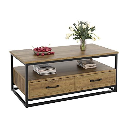 Couchtisch Wohnzimmertisch mit 2 Schubladen Beistelltisch Holz Metall im Industrie-Design fernsehtisch fernsehschrank mit großer Ablage LBH:108 x 58 x 48 cm