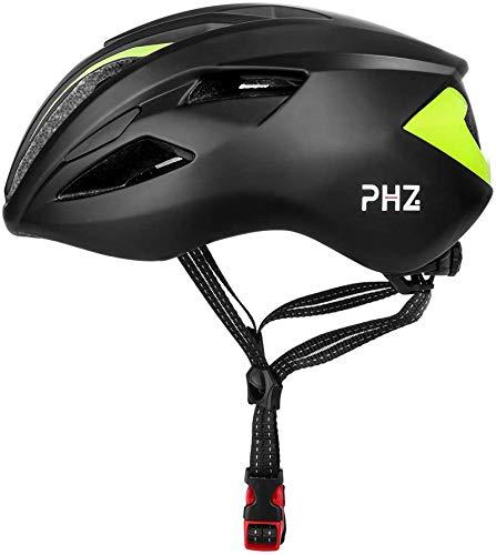 PHZ Casco da bicicletta per adulti Casco da ciclismo leggero regolabile specializzato per bici da strada Bike Racing Moon (Nero e verde, Large)