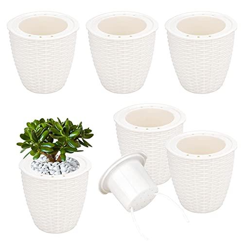 6 Pz Vaso da Fiori Auto-irrigazione plastica Vaso da fiori bianco con corda di stoppino Vivaio da interno Semina Bonsai Vaso da appartamento Piante grasse Aloe Erbe Giardino da giardino Decorazione