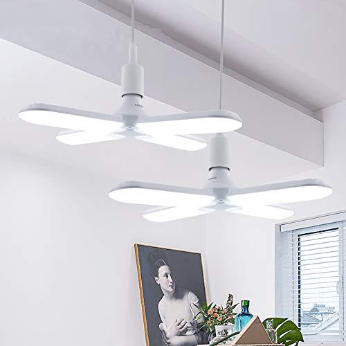 DAXGD Lámparas colgantes LED Tubos de aspas de ventilador plegables 60W E27, lámpara LED de ángulo ajustable súper brillante 6500K para escalera de garaje Sala de estar Restaurante