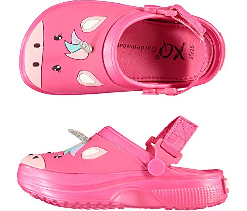 Zuecos infantiles con diseño de unicornio, cómodos, para niñas, zapatos de jardín, antideslizantes, zapatillas de playa, color rosa, color Rosa, talla 22 EU