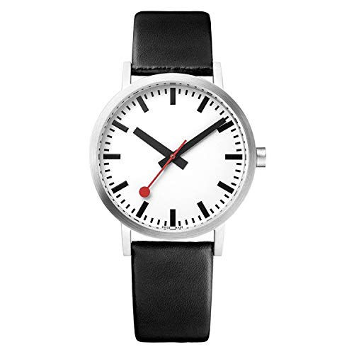 Mondaine Classy Wrist Watch (A658.30323.16OM) Swiss Made, Railway Design, Black Calf Leather Strap, Silver Stainless Steel Case, White Dial, Black Hands and Numbers