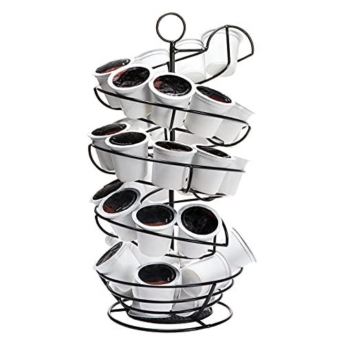 K Cup Holder, Large Capacity Coffee Pod Storage Basket with Black Spiral Design for K-cups