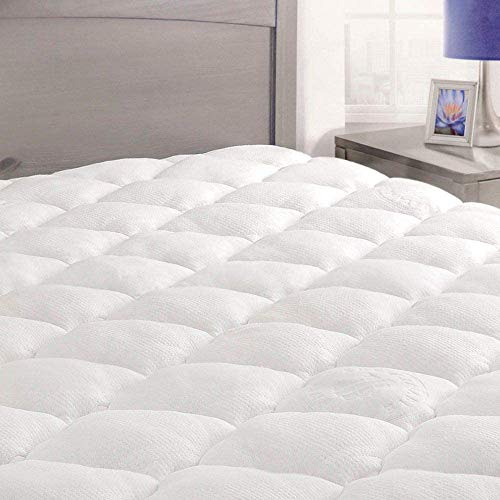 ExceptionalSheets Bamboo Mattress Pad with Fitted Skirt - Extra Plush Rayon from Bamboo Cooling Topper - Hypoallergenic - Made in The USA, Full Size
