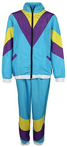 jaren '80 trainingspak kostuum voor mannen - turquoise geel paars - maat S-XXXXL - joggingbroek Assi, maat:S
