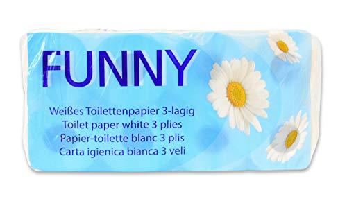Funny AG-014 Toilettenpapier, 3 Lagig, 250 Blatt, 9.5cm x 11cm, Weiß, 8 Stück