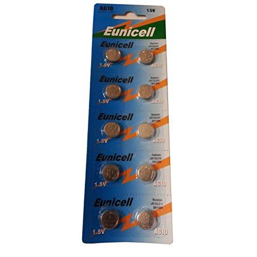 Eunicell, Knopfbatterien, hohe Qualität, AG10 LR54 LR1130 L1131 SR1130W 389 G10, 10 Stück
