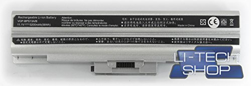 LI-TECH Batteria Compatibile 5200mAh Silver Argento per CODICE Sony VGP-BPS13S PILA 57Wh