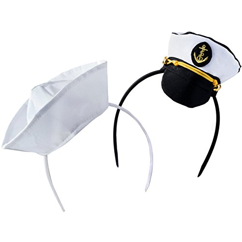 Tigerdoe Sailor Hat - Yacht Captain Hat – Costume Headbands - Mini Hat Headbands - (2 Pack) Black White