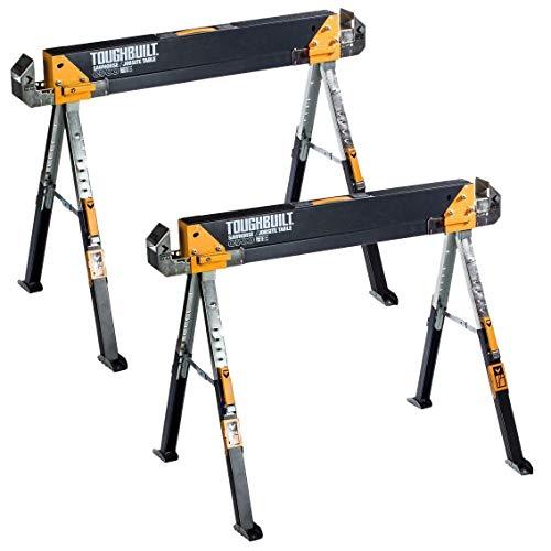 ToughBuilt 1paire de tréteaux de travail C700, chevalets de sciage réglables en hauteur et supportant jusqu'à 1300kg
