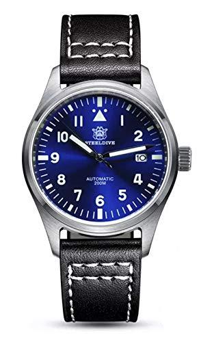 Steeldive SD1940 reloj piloto Mark XVIII Flieger, NH35, Zafiro, Azul, Lume, 200 m Diver, BNIB