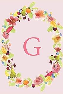 G: Soft Floral Wreath Monogram Sketchbook | 110 Sketchbook Pages (6 x 9) | Floral Watercolor Monogram Sketch Notebook | Personalized Initial Letter Journal | Monogramed Sketchbook