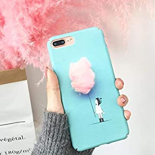 Twinlight Lovely Fashion Phone Case for iPhone X Case for iPhone 7 8 Plus Cover Cotton Candy Color Girl Cartoon Hard PC Cover (for iPhone 7plus 8plus)