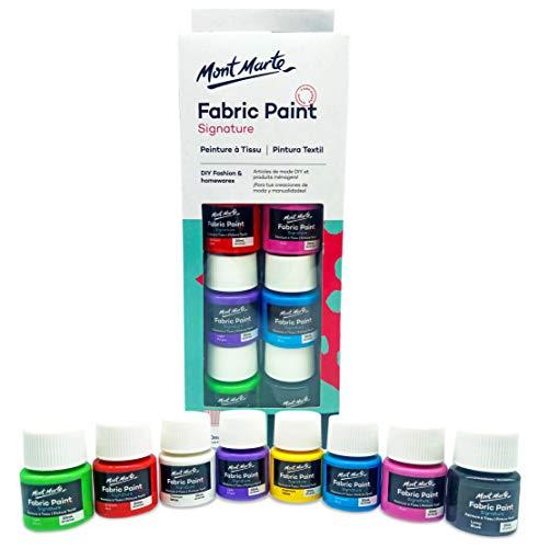 Pintura textil y textil de calidad profesional. Luz y tonos resistentes al agua – 8 colores de 20 ml – Ideal para adornar camisetas o para todo tipo de tejidos.