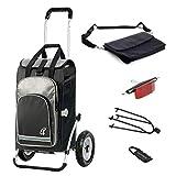 Andersen Einkaufstrolley Royal luftbereift mit Fahrrad Anhängerkupplung und 60 Liter Einkaufstasche Hydro schwarz mit Kühlfach, extra Laptoptasche