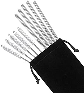 Lazer Designs 5 Stainless Steel Straws for Custom Logo or Personalized Text, 5 Brushes Set with Pouch 8 1/2