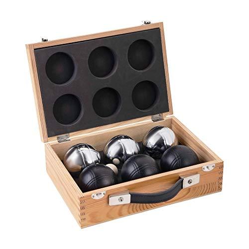 weiblespiele 010208 - Juego de Bolas de Petanca en Caja de Madera (6 Unidades), Color Negro y Plateado