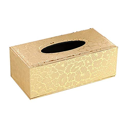 Dracol Caja de pañuelos de piel creativa, caja de pañuelos dorada, caja para pañuelos, caja de pañuelos, caja rectangular para casa, oficina, coche, 24 x 12 x 9,5 cm