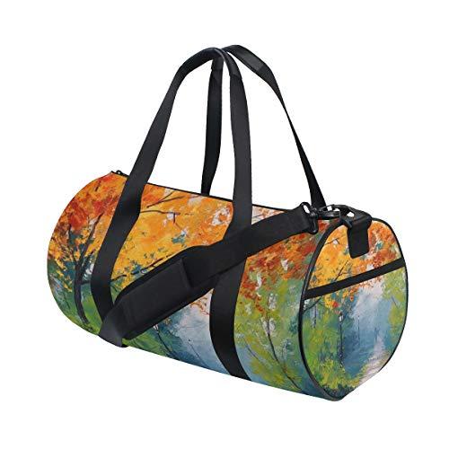 DEZIRO Fall Forest Street Painting Sport Duffle Bag Drum Bolsa de deporte