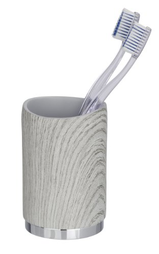 WENKO 21032244 Zahnputzbecher Tundra - Zahnbürstenhalter, Holzoptik, Polyresin, 7.4 x 11 x 7.4 cm, Grau