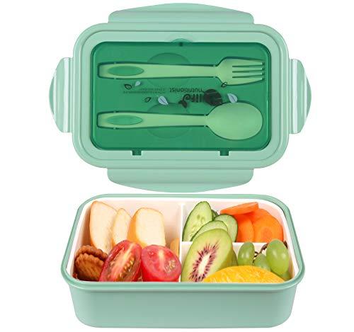 MEIXI Fiambrera Infantil Caja de Bento con 3 Compartimentos y Cubiertos Fiambreras Caja de Alimentos Ideal para Almuerzo y Bocadillos para Niños y Adultos (Verde)
