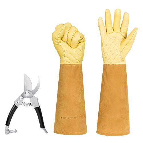 Gardening Gloves with Pruning Shears, Thorn Proof Rose Pruning Long Gloves with Hand Pruners, Breathable Goatskin Leather Gauntlet for Men and Women