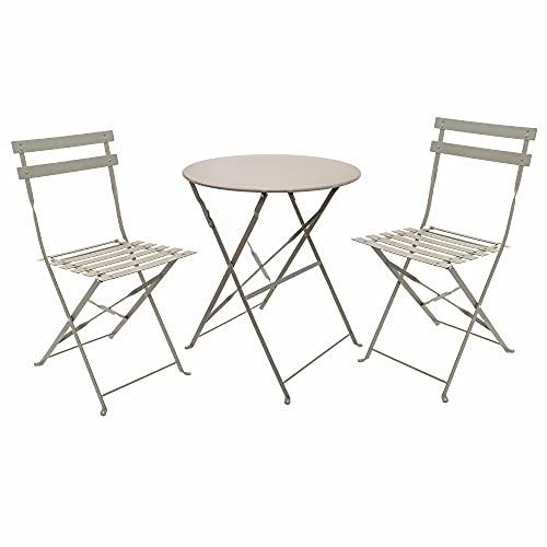 east2eden Metal 2 Seater Patio Bistro Garden Chair & Table Set (Grey)
