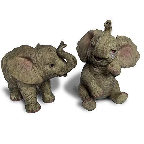 Objectz Set 2 lieblich süße kleine Baby Elefanten, Einer weinend, Einer stehend
