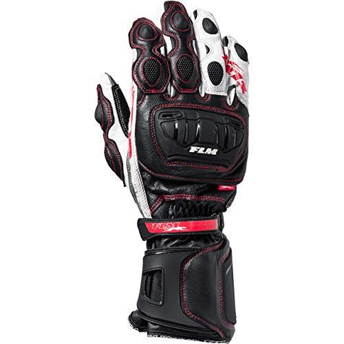 FLM Motorradhandschuhe lang Motorrad Handschuh Sports Lederhandschuh 8.0 schwarz/weiß/rot 10,5, Herren, Sportler, Sommer, Leder/Textil