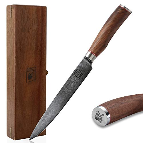 zayiko Kurumi Damastmesser Fleischmesser extrem scharfe 20 cm Klinge aus 67 Lagen I Damast Küchenmesser und Profi Kochmesser aus echtem japanischen Damaststahl mit Griff aus Nussbaum und Holzbox
