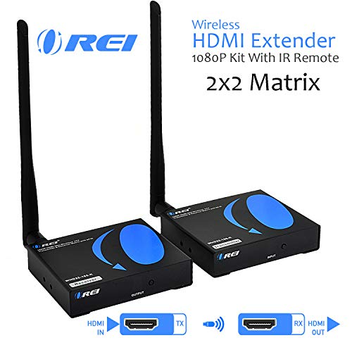 OREI 2x2 Wireless HDMI Transmitter Receiver Extender 1080P Kit with IR Remote - Up to 165 Ft - Multiple to Many - Perfect for Streaming from Laptop, PC, Cable, Netflix, PS4 to HDTV/Projector