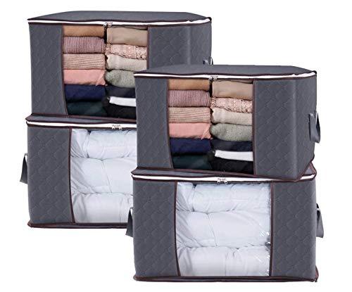 Faltbare Aufbewahrungstasche Aufbewahrungsbeutel mitReißverschluss für Bettdecken, Kleidung, Bettzeug, Decken, Kissen, Steppdecken (4 Stück)