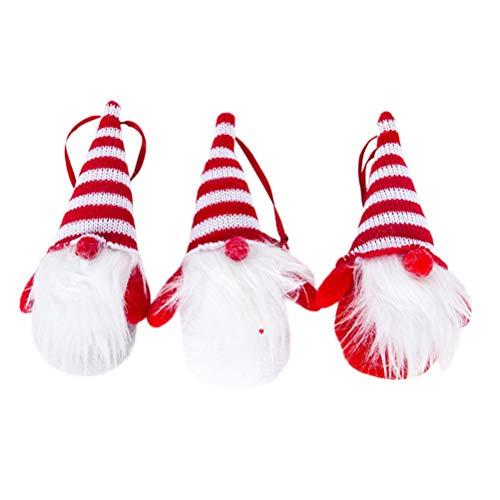 BESTOYARD 3pcs Père Noël en Tissu avec Chapeau de Noel Suspension de Noel Décoration Sapin de Noel Suspendu Rouge Blanc Gris