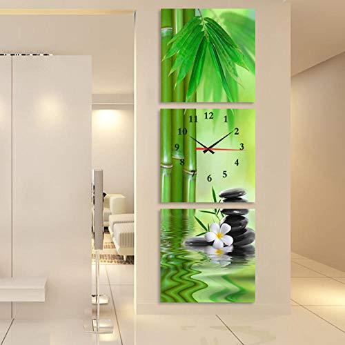 WFQGZ wandbild mit Uhr Rahmenlose malerei wanduhr triptychon Kunst Uhren Mode kreative Wohnzimmer wanduhr Moderne Veranda dekorative malerei grüner Bambus -50X50-25mm th 12047