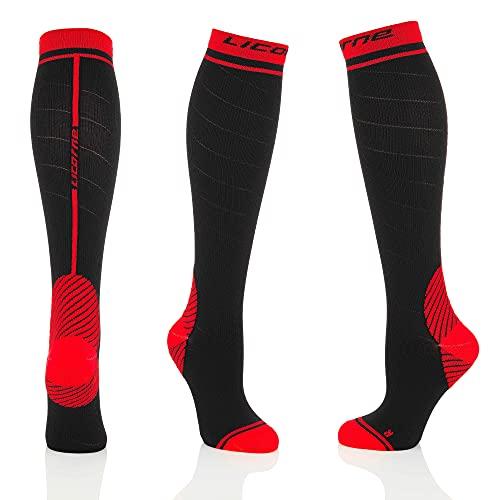 Licorne Kompressions-Thrombose-Stütz-Strümpfe Damen und Herren Compression Socks für Sport Flug Laufen Reisen, Verbesserung der Durchblutung (43-46, Schwarz-Rot)