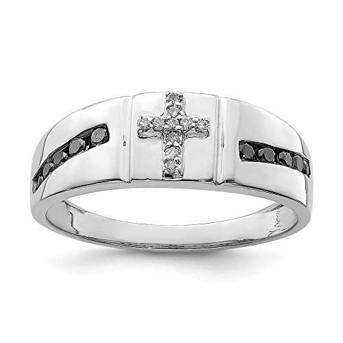 925 Sterling Silver Black White Diamond Cross Religious Mens Band Ring Size 9.00 Man Fine Jewellery For Dad Mens Gifts For Him