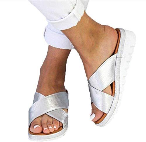 N /A Zapatos de Playa Piscina Unisex Adulto,Sandalias Planas de Punta Abierta para Mujer, Zapatillas con Plataforma Antideslizante, Zapatillas Interior Piso 2020,Plata,39