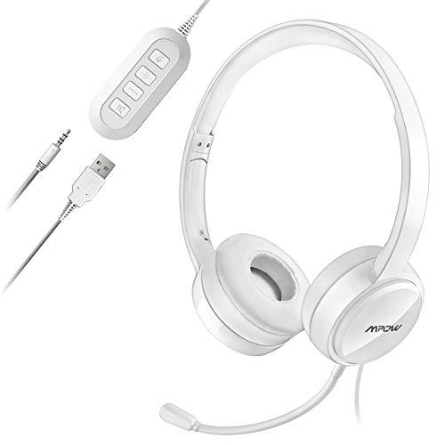 Mpow PC Headset 071, USB Headset, 3,5mm Klinke Headset für entspanntes Gaming, e-Learning und Musik, Headset Handy mit Noise-Cancelling-Mikrofon,Telefon Headset Business Skype Soft Phone Call Center