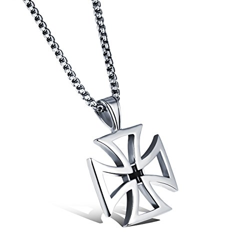 dsanbo - Cadena de acero inoxidable para hombre, colgante de plata con cruz