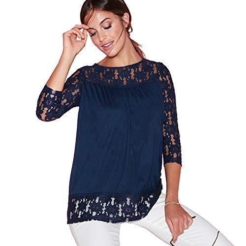 Camiseta con Encaje en canesú Mangas y bajo Mujer by Vencastyle - 022751,Azul Marino,XS