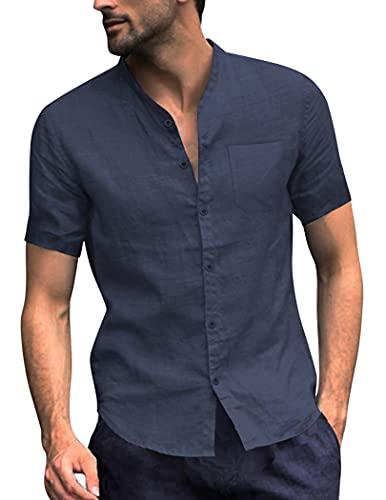 COOFANDY Herren Hemd Kurzarm Leinenhemd aus Baumwollmischung Slim Fit Sommer Freizeit Men´s Shirt Navyblau L