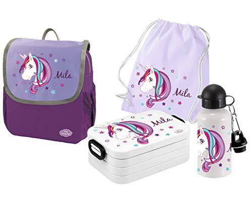 Mein Zwergenland Set 5 Kindergartenrucksack mit Brotdose, Turnbeutel und Trinkflasche Happy Knirps NEXT mit Name Einhorn Beauty, 4-teilig, Lila