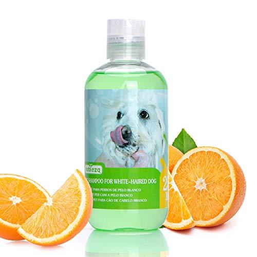 Nobleza Hundeshampoo Weißes Fell mit Orangenduft, Pflegeshampoo frei von Farbstoffen & Peroxid, Hund Shampoo Malteser, Havaneser und Bichon 250ml