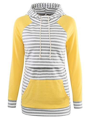 Liu & Qu Womens Nursing Hoodie Long Sleeves Sweatshirt Breastfeeding Layered Top Pocket Casual Clothes (XXL, Grey White Stripe+Yellow)