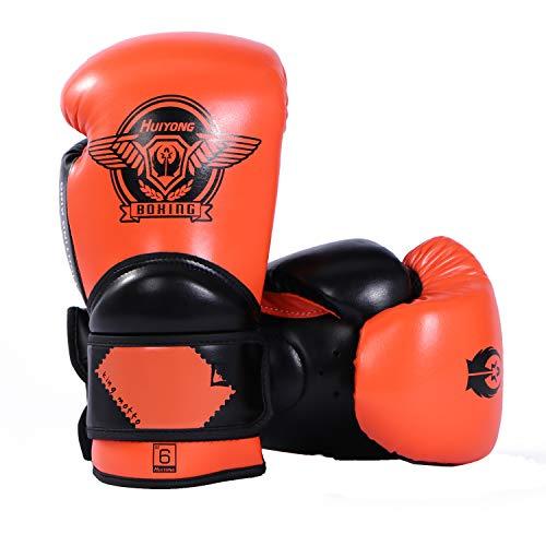 HUINING Guantes de boxeo para niños, guantes de boxeo de entrenamiento para niños de 3 a 15 años, guantes de boxeo para jóvenes (naranja negro, 6 onzas)